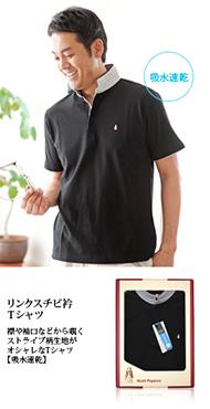 リンクスチビ衿Tシャツ 襟や袖口などから覗くストライプ柄生地がオシャレなTシャツ【吸水速乾】