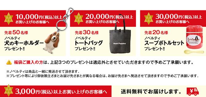 10,000円、20,000円、30,000円以上お買い上げのお客様へ先着順で更にプレゼント。